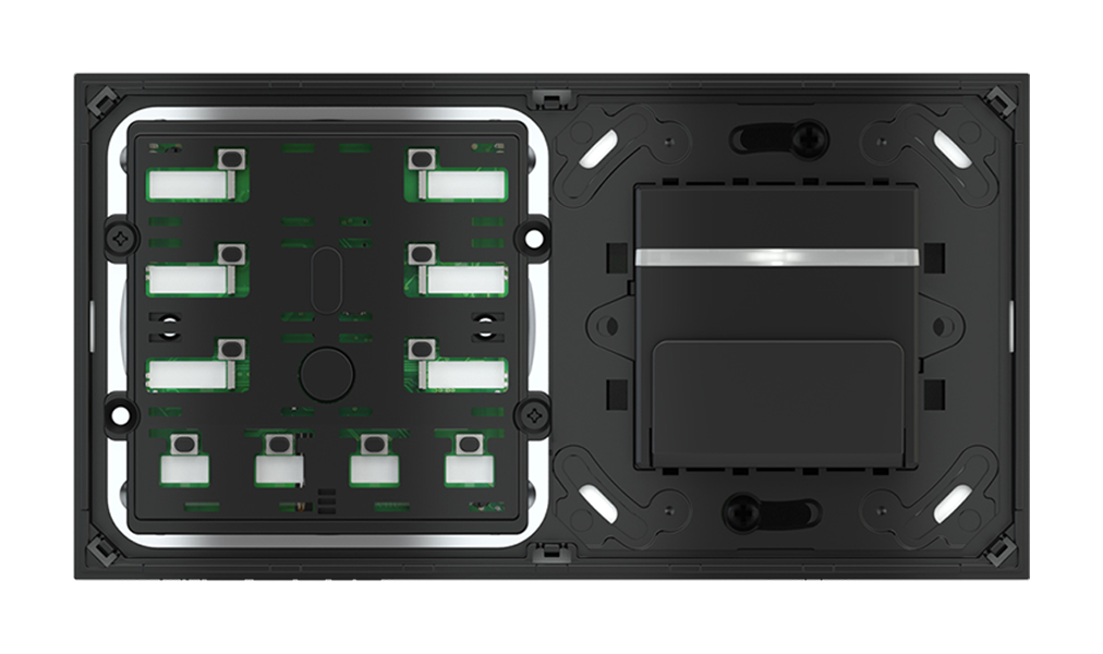 Pulsante 10 tasti con led e tasca porta-tessere per placca a 2 posti (modulo 60x45 mm)