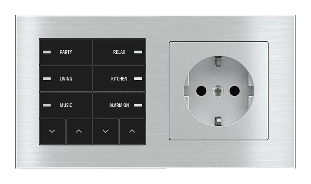 Pulsante 10 tasti con led e presa elettrica per placca a 2 posti (modulo 60x55 mm) - Schuko