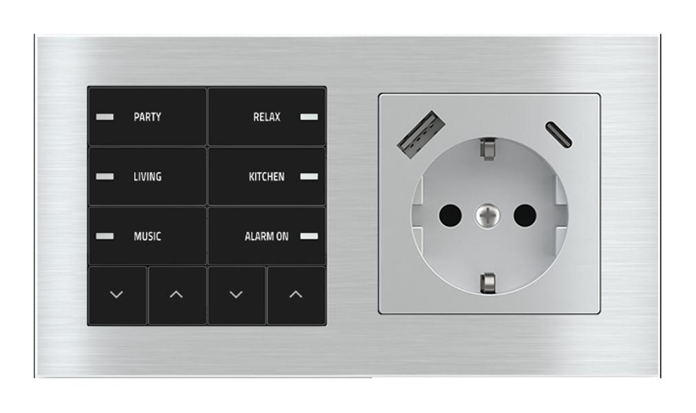 Pulsante 10 tasti con led e presa elettrica per placca a 2 posti (modulo 60x55 mm) - Schuko USB