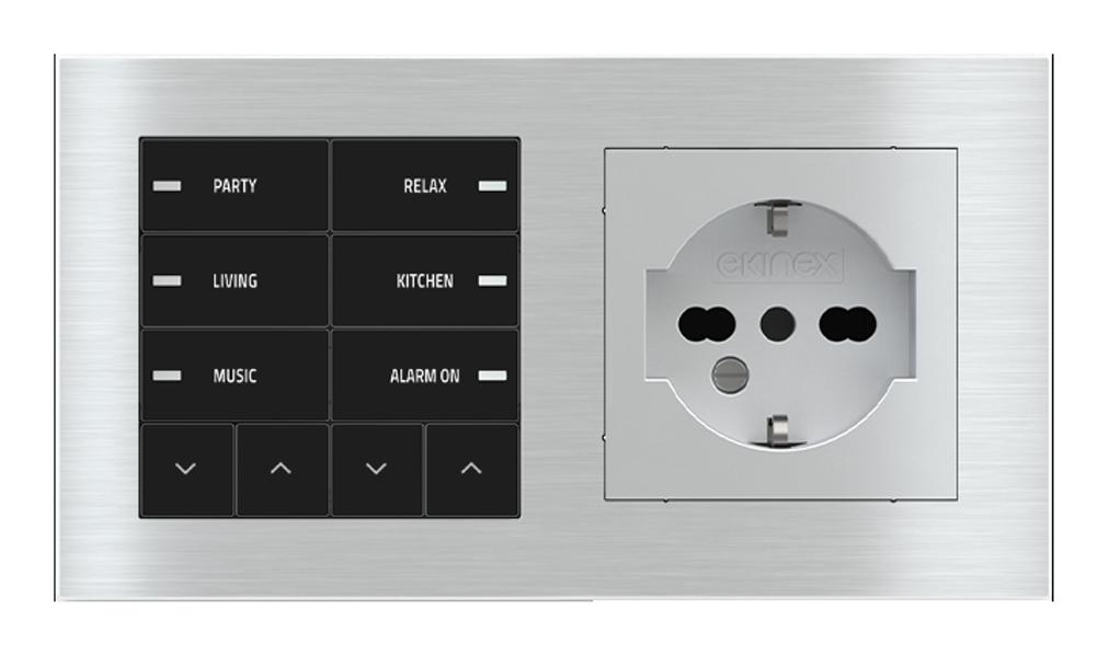 Pulsante 10 tasti con led e presa elettrica per placca a 2 posti (modulo 60x55 mm) - IT