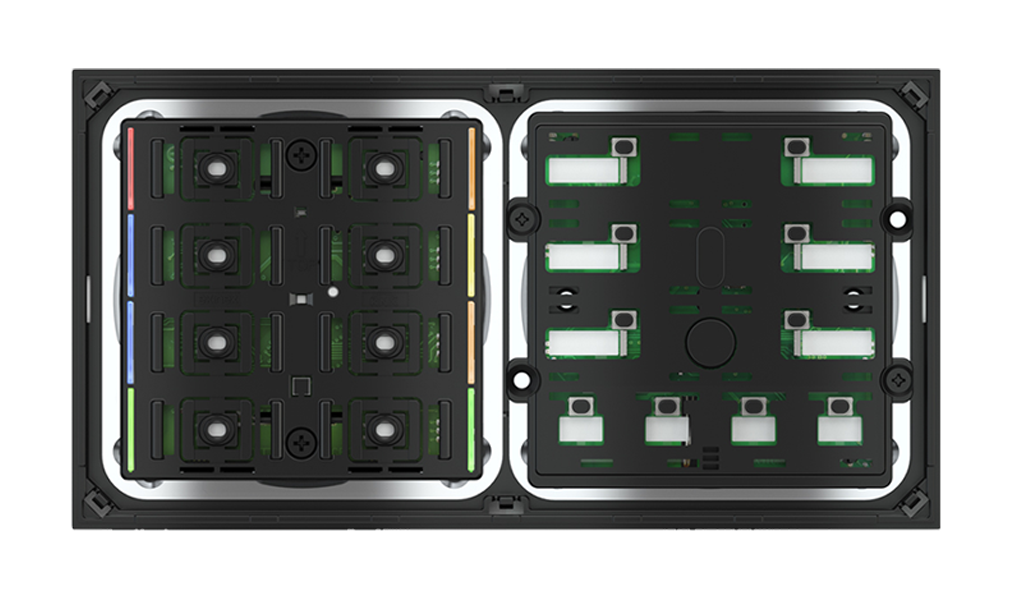 Multisensore di qualità dell'aria con regolatore e pulsante 10 tasti con led per placca a 2 posti