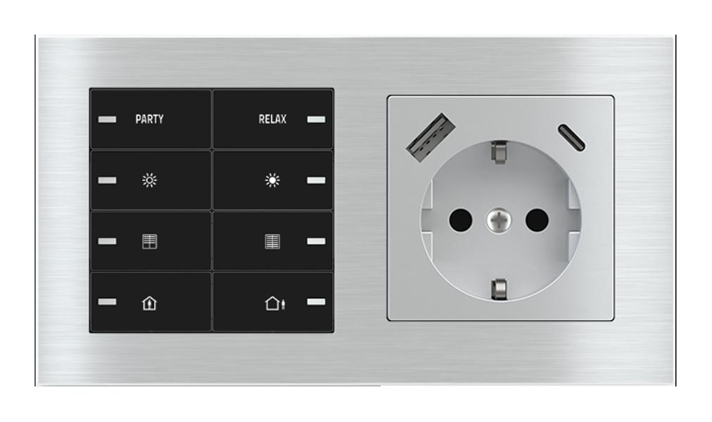 Pulsante 8 tasti con led e presa elettrica per placca a 2 posti (modulo 60x55 mm) - Schuko USB