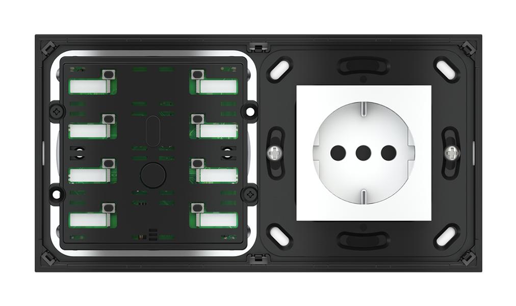 Pulsante 8 tasti con led e punto di derivazione per placca a 2 posti (modulo 60x45 mm)