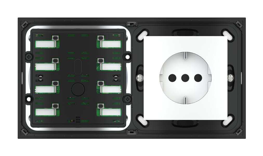 Pulsante 8 tasti con led con componente di serie civile per placca a 2 posti (modulo 60x55 mm)