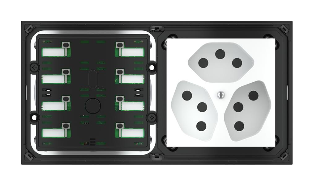 Pulsante 8 tasti con led e punto di derivazione per placca a 2 posti (modulo 60x60 mm)