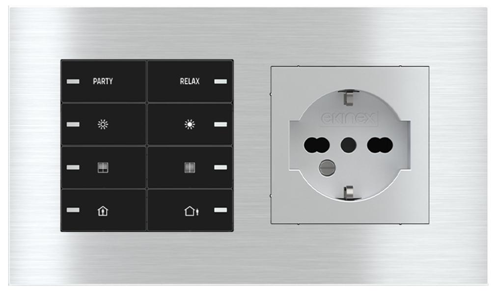 Pulsante 8 tasti con led e presa elettrica per placca a 2 posti (modulo 60x55 mm) - IT