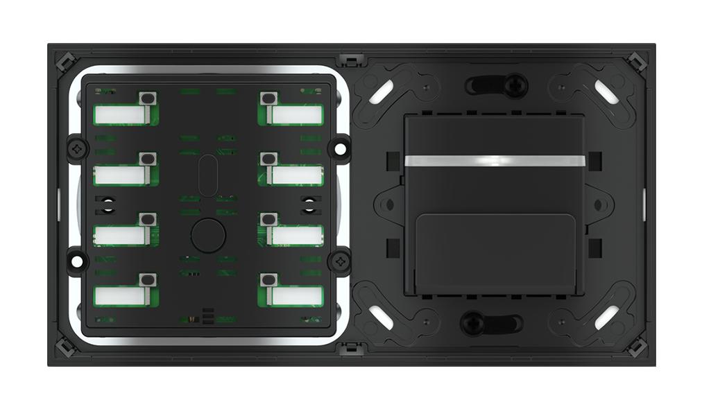 Pulsante 8 tasti con led e tasca porta-tessere per placca a 2 posti (modulo 60x45 mm)