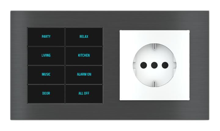 Pulsante 8 tasti con testi/simboli retroilluminati, sensore di prossimità e presa elettrica per placca a 2 posti (modulo 60x55 mm) - IT