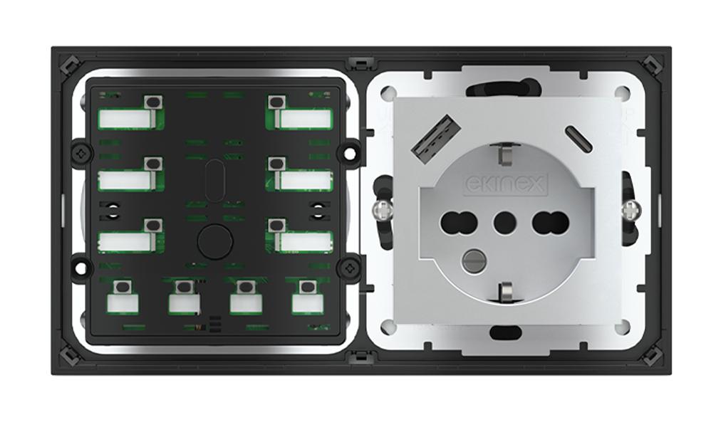 Pulsante 10 tasti con led e presa elettrica per placca a 2 posti (modulo 60x55 mm) - IT USB
