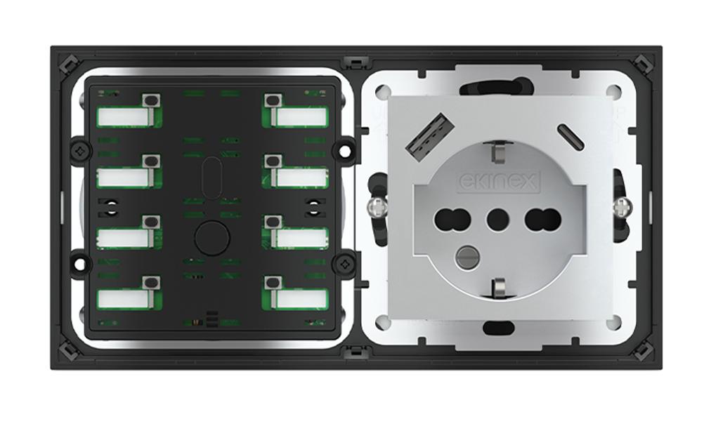 Pulsante 8 tasti con led e presa elettrica per placca a 2 posti (modulo 60x55 mm) - IT USB