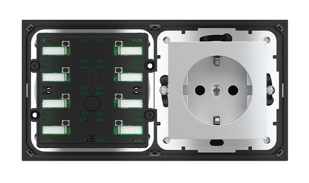 Pulsante 8 tasti con led e presa elettrica per placca a 2 posti (modulo 60x55 mm) - Schuko