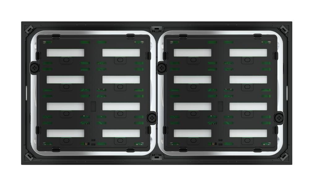 Pulsante 8 tasti con testi/simboli retroilluminati e sensore di prossimità per placca a 2 posti