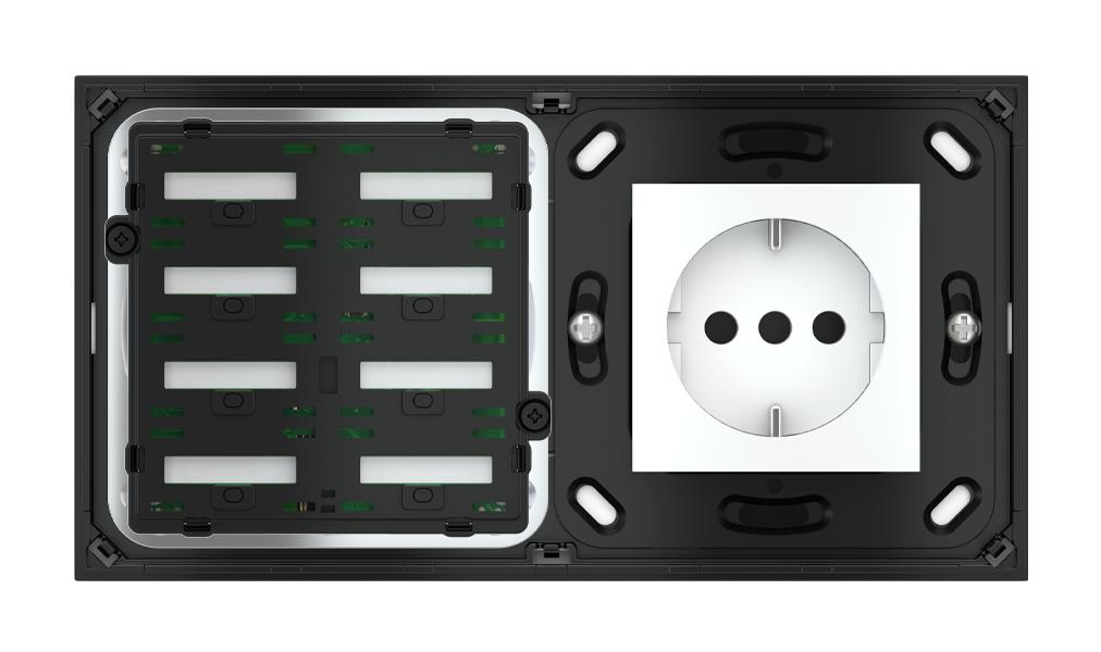 Pulsante 8 tasti con testi/simboli retroilluminati, sensore di prossimità con componente di serie civile per placca a 2 posti (modulo 60x45 mm)