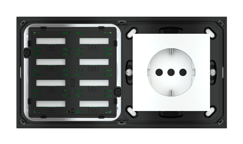 Pulsante 8 tasti con testi/simboli retroilluminati, sensore di prossimità e punto di derivazione per placca a 2 posti (modulo 60x55 mm)