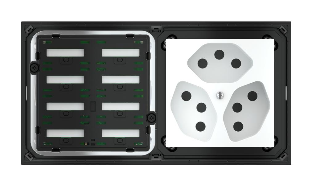 Pulsante 8 tasti con testi/simboli retroilluminati, sensore di prossimità con componente di serie civile per placca a 2 posti (modulo 60x60 mm)