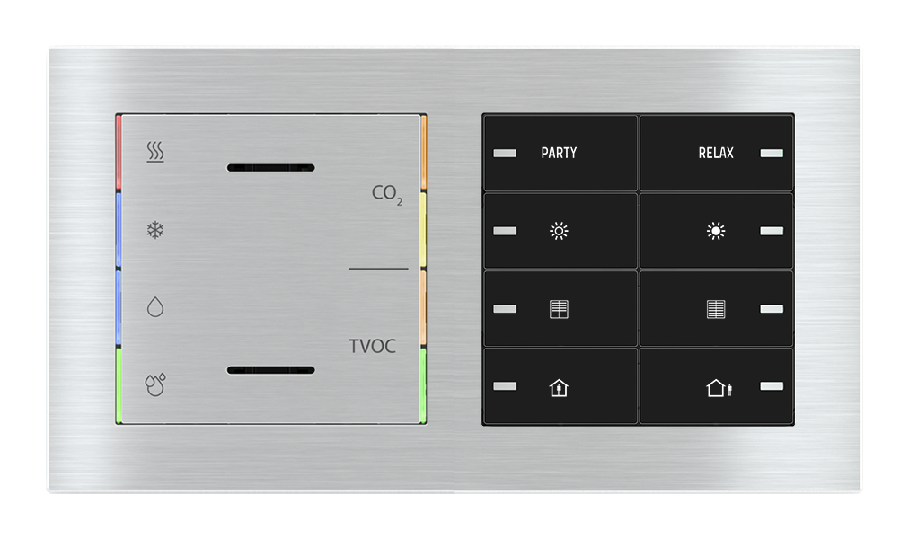 Multisensore di qualità dell'aria con regolatore e pulsante 8 tasti con led per placca a 2 posti