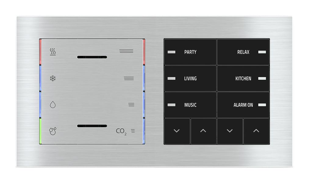 Multisensore T - U.R. - CO2 eq. e pulsante 10 tasti con led per placca a 2 posti