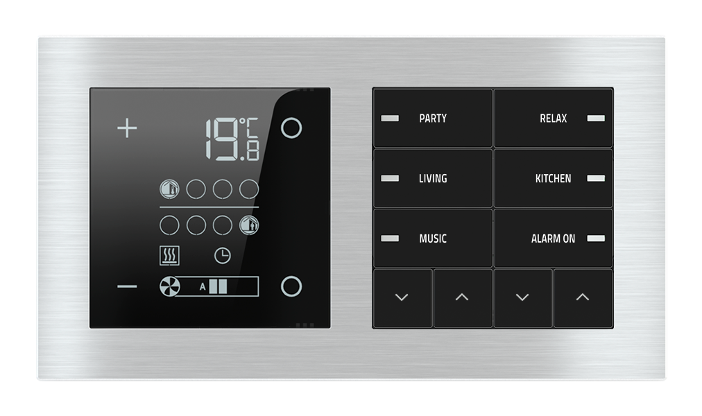 Room temperature controller E72 and 10-fold pushbutton with led for 2-fold plate