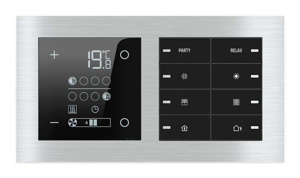 Termostato ambiente E72 e pulsante 8 tasti con led per placca a 2 posti