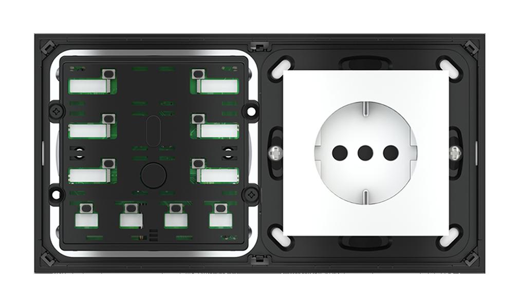 Pulsante 10 tasti con led con componente di serie civile per placca a 2 posti (modulo 60x55 mm)