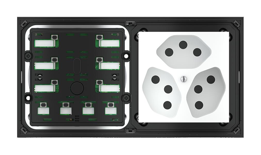 Pulsante 10 tasti con led con componente di serie civile per placca a 2 posti (modulo 60x60 mm)